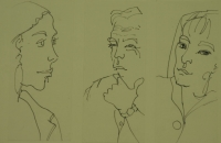 3 sketches - 2 female faces & 1 male face by Relly, Tamsin