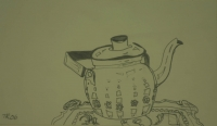 Tea pot on tray by Relly, Tamsin