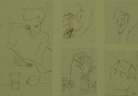 5 sketches - man reading - ear - hands & palm tree by Relly, Tamsin