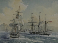 Ships with table mountain in background by Ronald, Dean