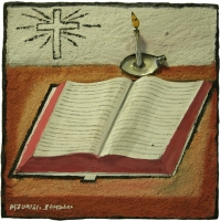 Open bible with burning candle by Somdaka, Mzukisi Thomas