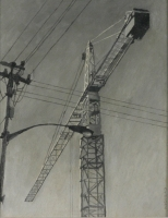 Black & white - crane & electricity lines by Van Bosch, Cobus