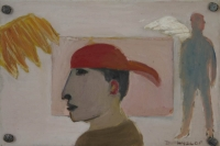 Man with red cap on backwards with other figure in background by Hyslop, Diana