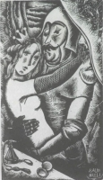 Original  Woodcut A Knight and his Queen by Baldinelli, Armando