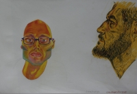 2 mens faces (self portrait) - 1 with beard & othere with glasses & sideburns by Botes, Conrad