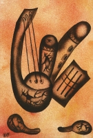 Still Life with Musical Instruments by B, K
