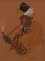 Woman smoking pipe by Tyrrell, Barbara