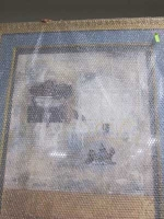 Poster in bubblewrap with blue mount by Unknown