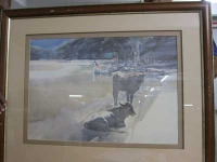 Cows on beach by Unknown
